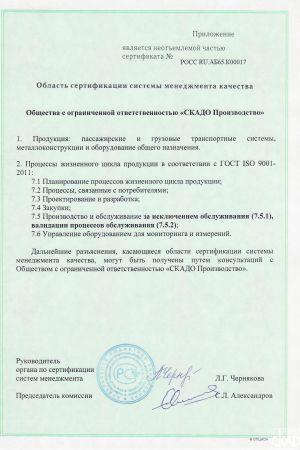 Приложение к сертификату на соответствие требованиям ГОСТ ISO 9001-2011 (ISO 9001:2008) «СКАДО Производство»
